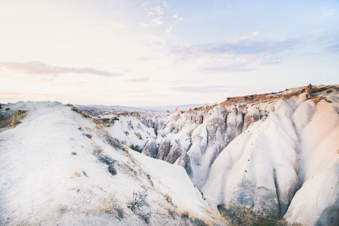 Natural volcanic rocks on clear day  Cappadocia  Turkey