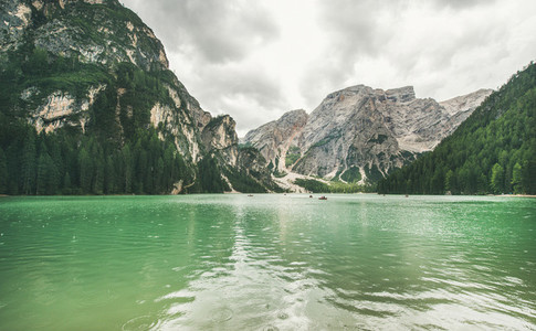 Mountain Lake di Braies in Fanes Sennes Braies Nature Park  Italy