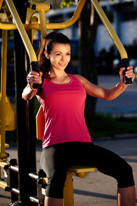 Woman exercising arms