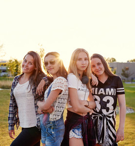 Scandinavian teenage girls posing