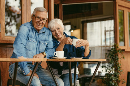 Senior couple in love at coffee shop