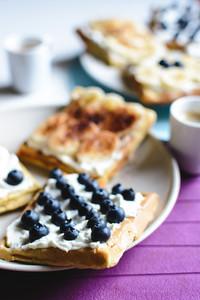 Homemade waffles with coffee