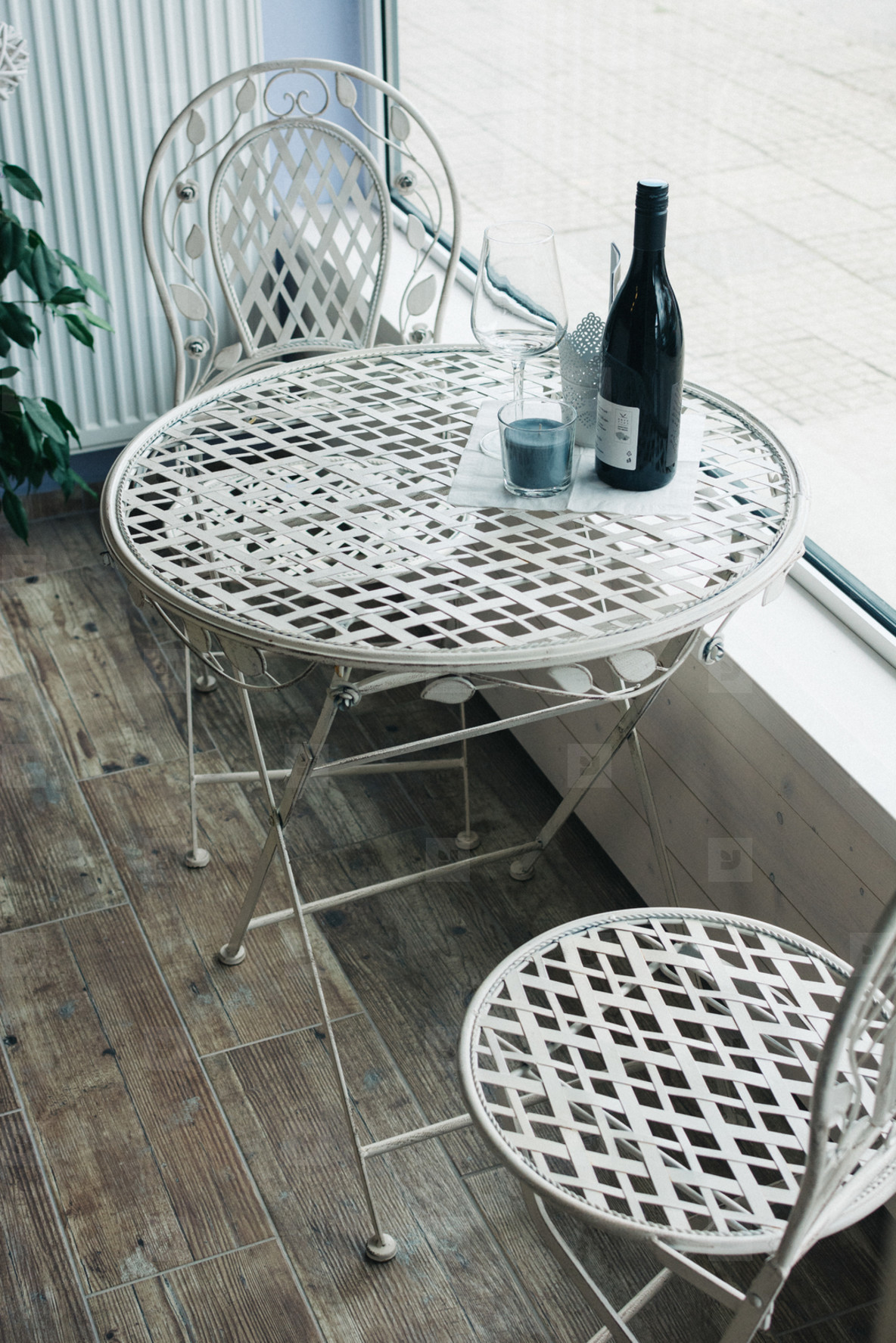 Bottle of wine on a table