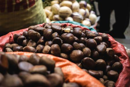 Bunch of fresh chestnuts