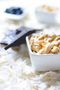 Cashew nuts and coconut flakes