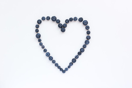 Heart of healthy blueberries