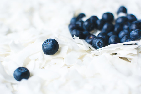 Coconut flakes with blueberries
