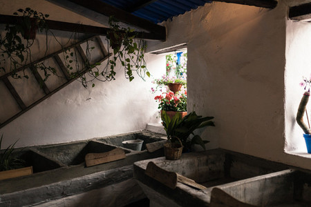 Ancient laundry room in cordoba  spain with wooden washboards
