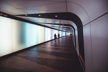 Futuristic modern sci fi moody tunnel background in city London
