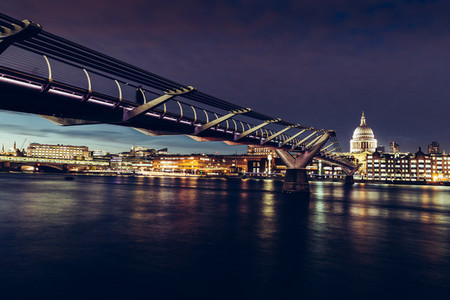 Modern London city skyline St Pauls Cathedral and Bridge River T
