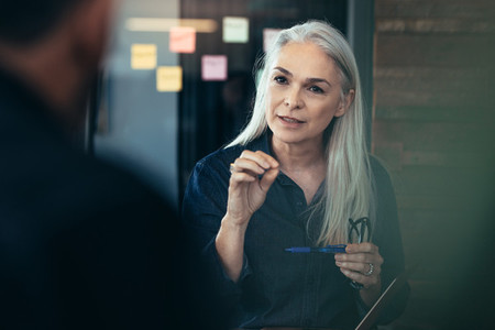 Mature business woman advising her colleagues in meeting