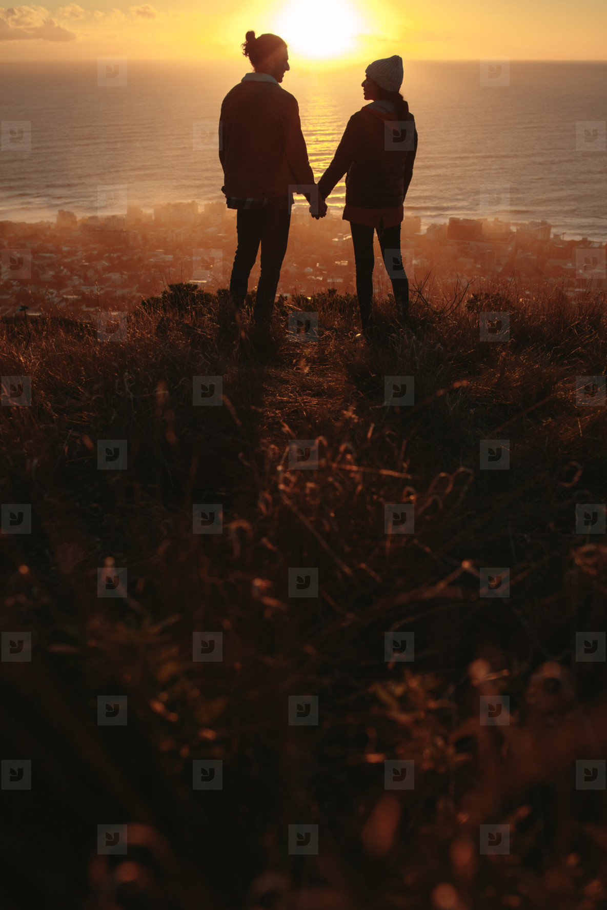 Photos Loving Couple On Mountain Peak During Sunset Youworkforthem