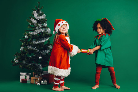 Little girls standing near a christmas tree holding a toy