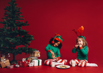Kids eating cookies with milk sitting beside a christmas tree