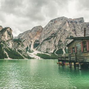 Lago di Braies in Fanes Sennes Braies Nature Park  Italy  Square crop