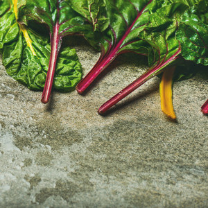 Flat lay of fresh leaves of swiss chard  Healthy cooking concept
