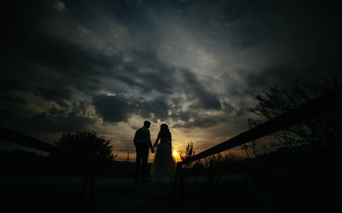 Silhouette of  wedding couple in field