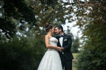 Beautiful wedding couple posing