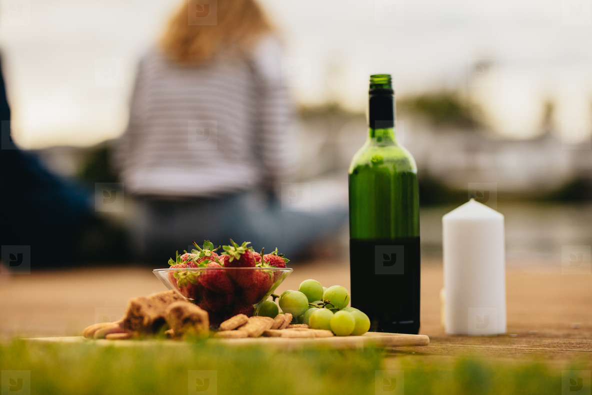 Picnic food and drink outdoors