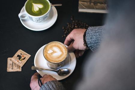Flat white and matcha latte