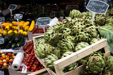 Fresh artichokes on market