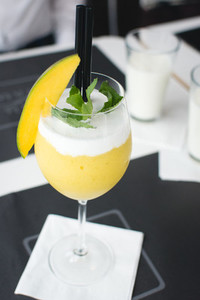 Mango cocktail in restaurant