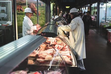 Meat in showcase