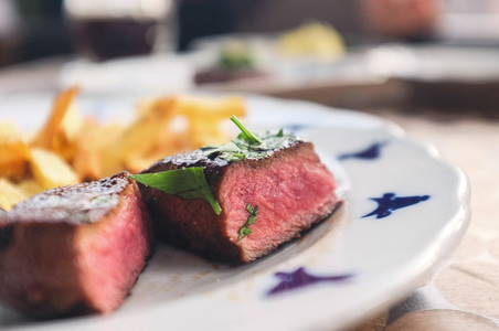 Medium beef steak with fries