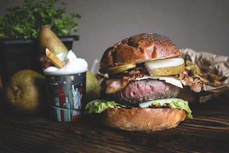 Medium rare burger