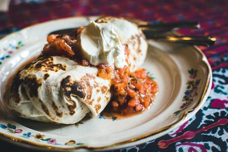 Mexican burrito with sour cream