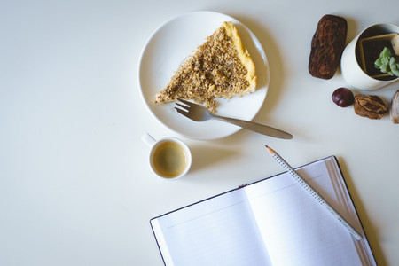 Morning journaling with cake
