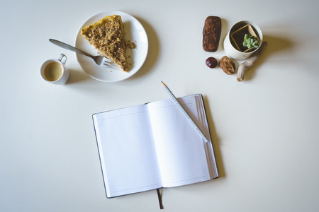 Morning journaling with cake