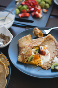 Morning pancakes with fruits