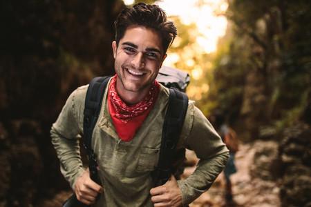 Man enjoying hiking in nature