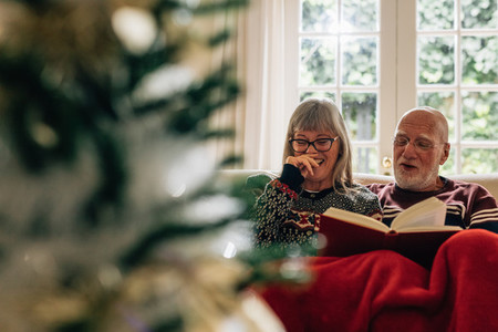 Happy old couple enjoying reading a book together