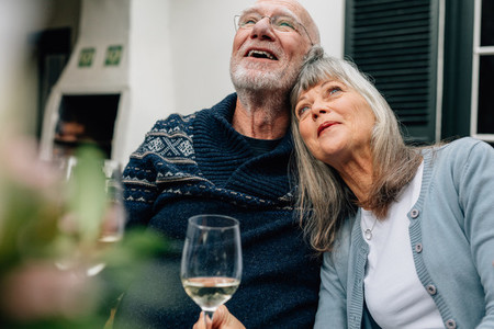 Senior couple relaxing at home with a glass of wine