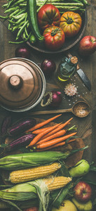 Autumn healthy ingredients for Thanksgiving day dinner preparation top view
