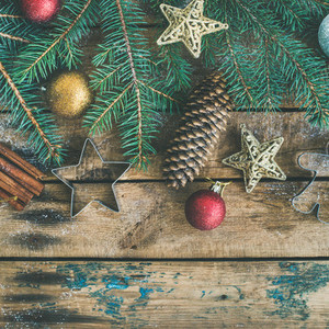 Christmas or New Year holiday flat lay with pine cones