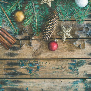 Christmas New Year holiday flat lay over wooden background square crop