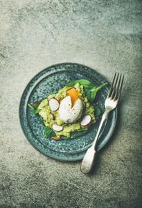 Healthy vegetarian gluten free breakfast toasts flat lay  copy space