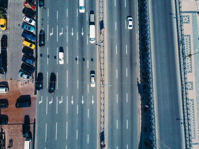 Aerial view from a drone on the highway