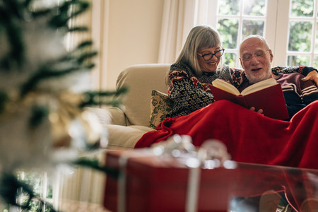 Happy senior couple reading a book sitting at home