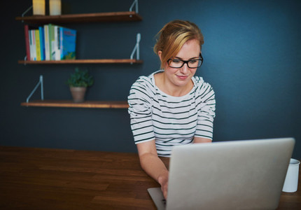 Female entrepreneur at office with laptop  copy space