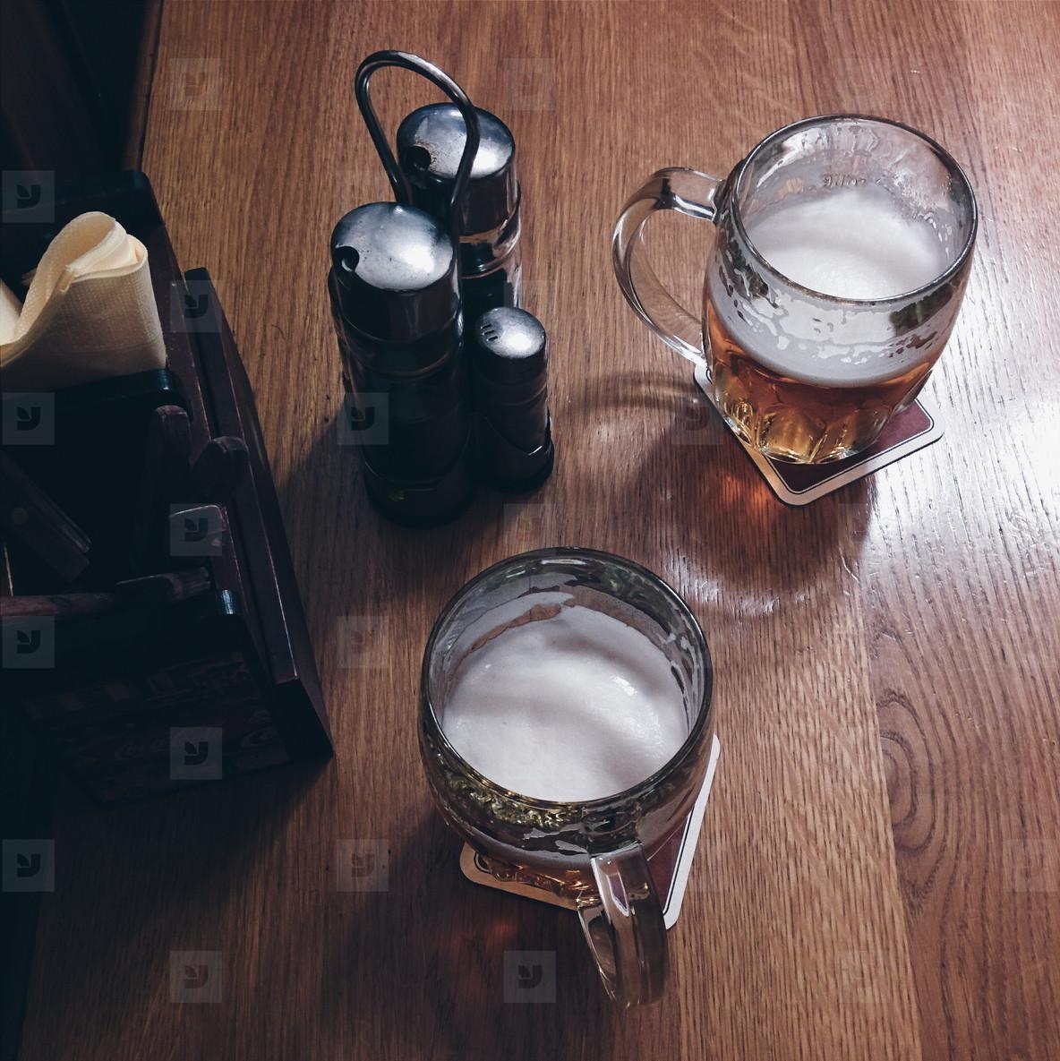 Having beer in restaurant