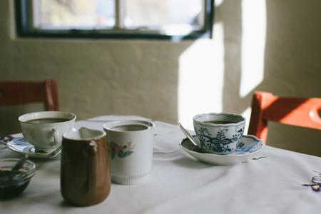 Having tea at grandmas apartment