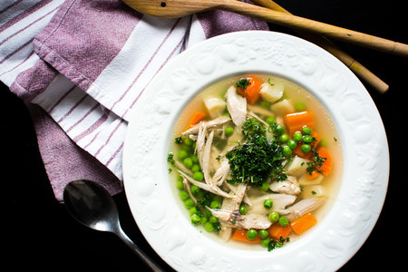 Homemade chicken broth with vege