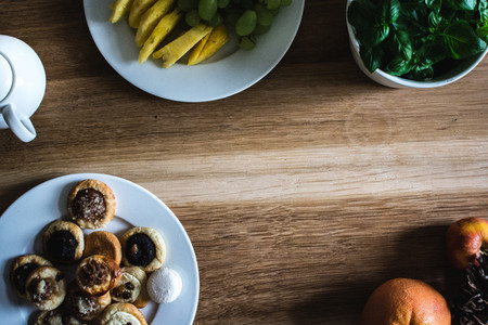 Homemade pastries and fruits