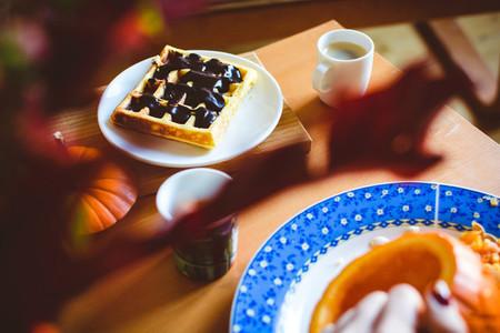 Homemade pumpkin waffle