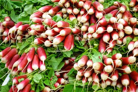 Organic radishes at market