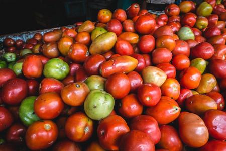 Organic tomatoes at market